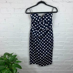 Asos Polka Dot Spaghetti Strap Midi Dress Size 6